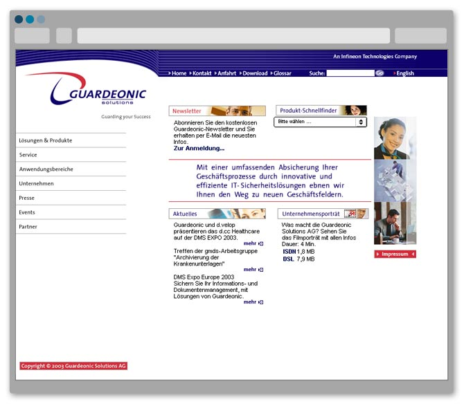 Website von Guardeonic